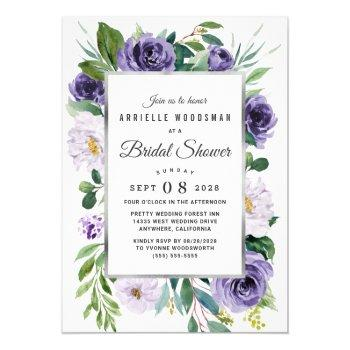 purple silver gray watercolor floral bridal shower invitation