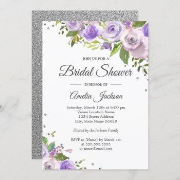 purple silver sparkle floral bridal shower invite