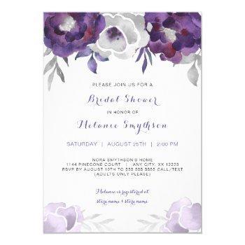 purple silver watercolor floral bridal shower 3963 invitation