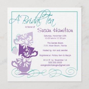 purple & turquoise bridal shower invitation - tea
