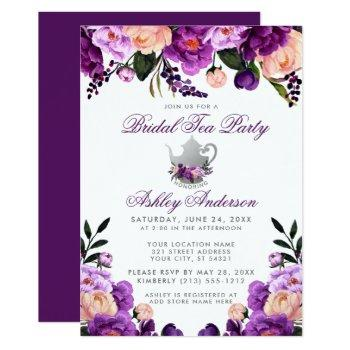 purple ultra violet bridal shower tea party invite