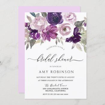 purple violet watercolor flowers bridal shower invitation