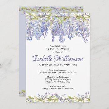 purple watercolor floral bridal shower invitations