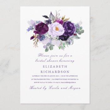 purple watercolor flowers romantic bridal shower invitation