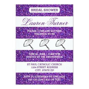 purple&white stripes - bridal shower invitation