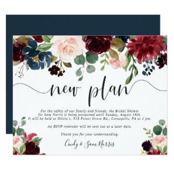 radiant bloom bridal shower postponement card