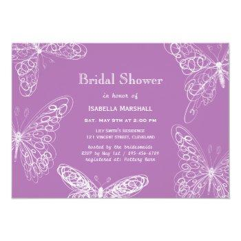 radiant orchid butterfly bridal shower invitation