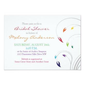rainbow colors floral bridal shower invitation