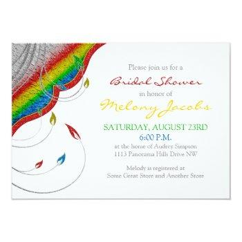 rainbow glitter look floral bridal shower invitation