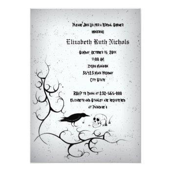 raven and skull gothic wedding bridal shower invitation