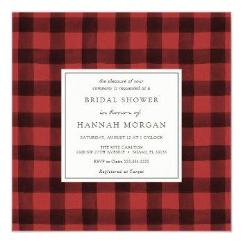 red and black buffalo plaid bridal shower invitation