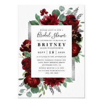 red and silver country burgundy rose bridal shower invitation