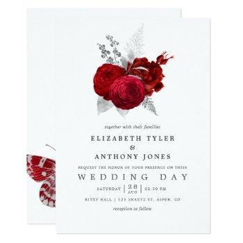 red and silver vintage rose wedding invitation
