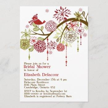 red bird whimsical winter bridal shower invitation