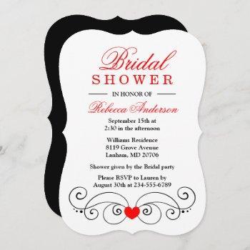 red & black bridal shower hearts wedding invitation