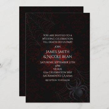 red & black damask halloween spider invitations