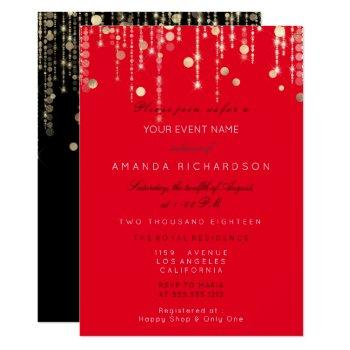 red black  gold drips birthday bridal shower invitation