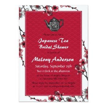 red black japanese tea bridal shower invitation