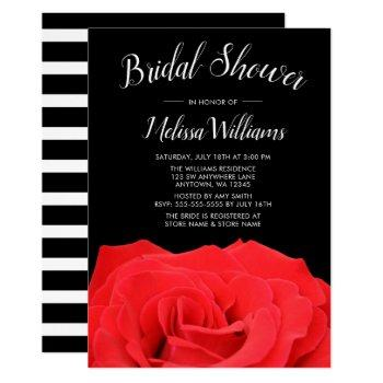 red & black rose bridal shower invitations