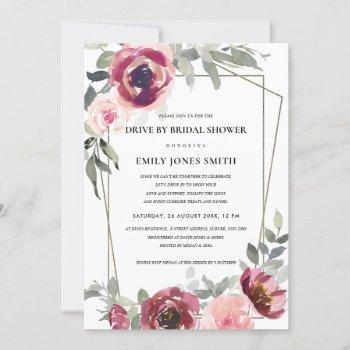 red blush rose flora drive by bridal shower invite