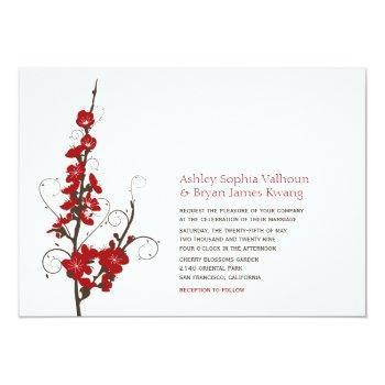 red cherry blossoms sakura swirls asian wedding invitation