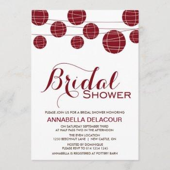 red chinese paper lantern bridal shower invitation