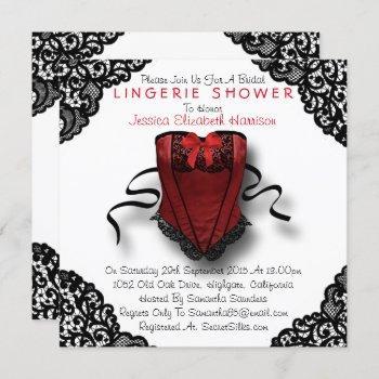 red corset & black lace lingerie shower invitation