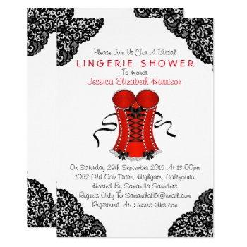 red corset & black lace lingerie shower invitation