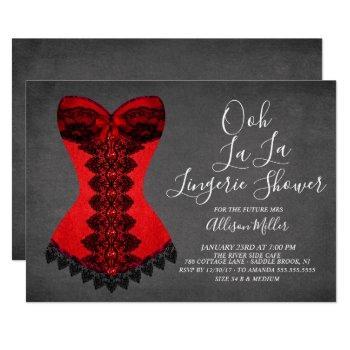 red corset lingerie bridal shower invitation