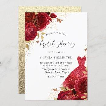 red dress & roses gold glitter bridal shower invitation