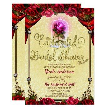 red enchanted rose beauty bridal shower invitation