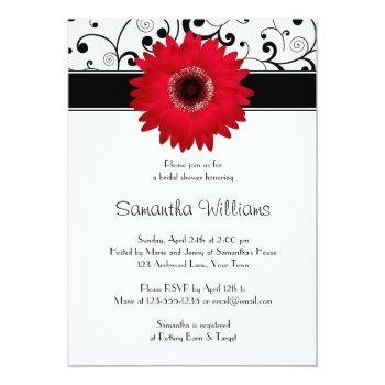 red gerbera daisy black scroll bridal shower invitation