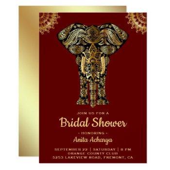 red gold elephant indian bridal shower invitation