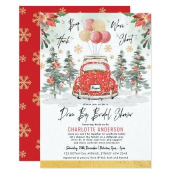 red green gold winter drive by bridal shower xmas invitation