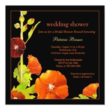 red hollyhocks black wedding shower invitation
