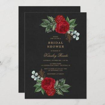 red peonies watercolor black gold bridal shower invitation