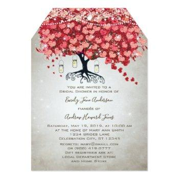 red pink silver woodsy heart leaf bridal shower invitation