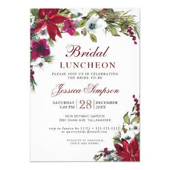red poinsettia floral christmas bridal luncheon invitation