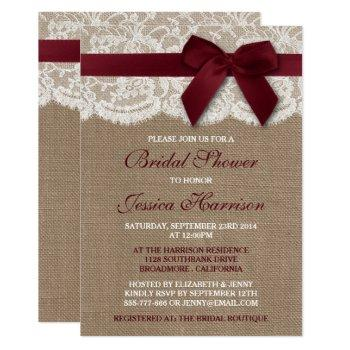 red ribbon on burlap & lace bridal shower invitation