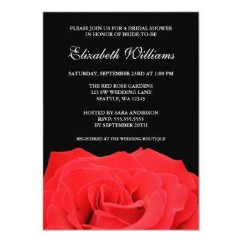 red rose and black bridal shower invitation