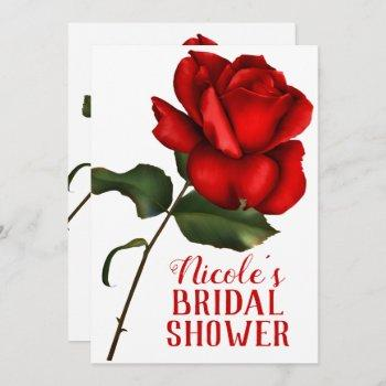 red rose beauty & the beast bridal shower invitation