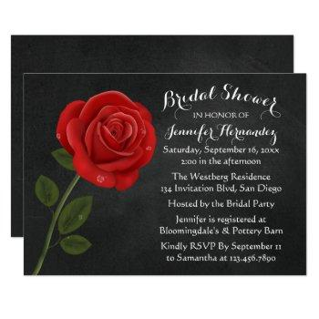 red rose black chalkboard floral bridal shower invitation