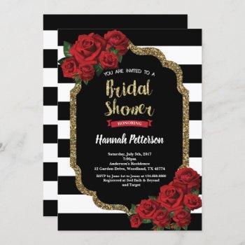 red rose bridal shower invitation black and gold