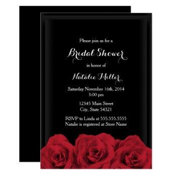 red rose bridal shower invite