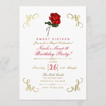 red rose floral gold corners sweet 16 party invitation