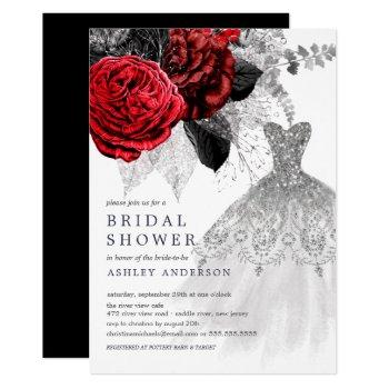 red & silver floral wedding dress bridal shower invitation