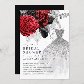 red & silver floral wedding dress bridal shower invitation
