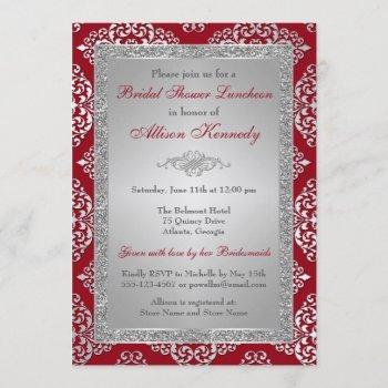 red, silver glitter damask bridal shower invite