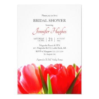 red tulips bridal shower invitation