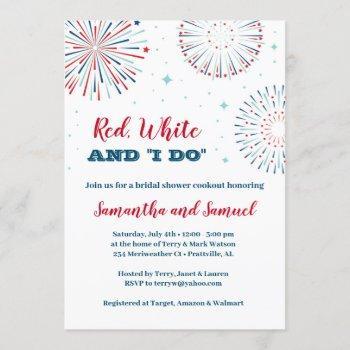 red, white and i do bridal shower invitation